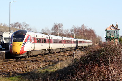 Class 800 104 passes Whittlesea on the diverted 1E08 0900 Edinburgh -  Kings Cross, 18/01/20.