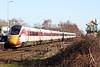 Class 800 104 passes Whittlesea on the diverted 1E08 0900 Edinburgh -  Kings Cross, 18/01/20.