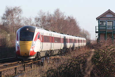Class 800 110 passes Whittlesea on the diverted 1S12 0928 Kings Cross - Edinburgh, 18/01/20.
