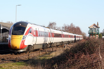Class 800 106 passes Whittlesea on the diverted 1S17 1128 Kings Cross - Edinburgh, 18/01/20.