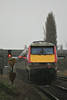 91132 passes Whitemoor Drove AHB on the rear of the diverted 1A25 Leeds - Kings Cross, 67004 providing power, 13/01/19.