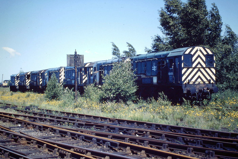 08418, 08412, 08358, 08549, 08427, 08438 and 08516 line up at March Depot, 04/06/88, about half of them withdrawn.