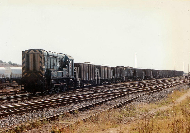 08580 shunts ballast wagons into March Up Yard, 05/08/96. This engine was withdrawn 01/06 and is now operated by RMS Locotec.