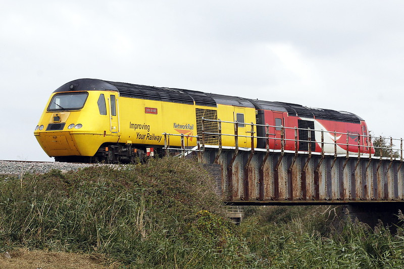 43062 JOHN ARMITT and LNER liveried 43290 pass Beggars Bridge on the second Up leg of 0Z60 Derby RTC - March - Peterborough - March - Derby RTC, 08/10/21. Quite what the purpose of all this was I don't know.
