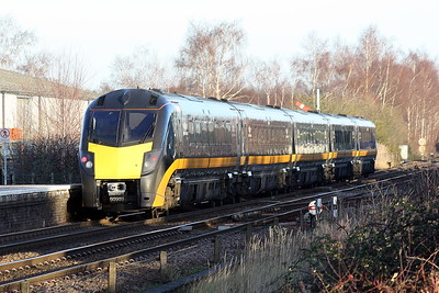 Class 180 103 passes Whittlesea on the diverted 1A67 1208 Bradford - Kings Cross, 18/01/20.