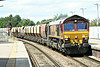 66112 heads eastbound through March Station on the 6L40 Mountsorrel - Kennett Lafarge stone, 16/07/14.