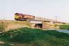 66078 crosses Beggars Bridge on 6E57 Felixstowe - Healey Mills empty newsprint vans, 12/04/02.