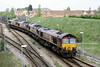 66074 trails as the quartet, lead by 66009 and with 66046 and 66055 in the middle, enter Whitemoor Yard, 11/04/11.