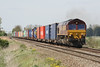 66150 powers through Manea Station on 4L45 Wakefield Europort - Felixstowe South, 04/05/16.
