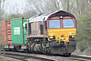 66137 rounds the bend from March South on 4L45 Wakefield Europort - Felixstowe South Intermodal, 28/03/14.