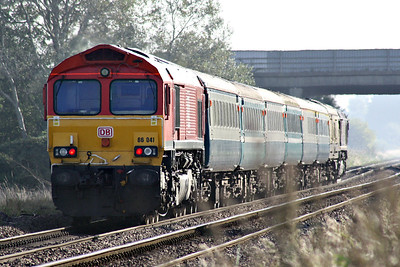66041 on the rear of the Branch Line Society's 'Bow Bells' Rail Tour passing Tufts Crossing with 66088 leading. 14/09/19. The tour starts/ends in Nottingham and is bound to explore an array of obscure sidings in the east of England.