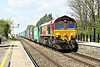 66108 speeds eastwards through Manea Station on the Wakefield - Felixstowe South Intermodal, 14/04/14.
