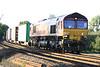 66187 approaches Silt Road LC on 4L07 Burton on Trent - Felixstowe, 28/08/16.