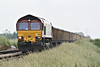 66138 approaches Whitemoor Drove AHB with 6L85 Warrington Arpley - Middleton Towers sand empties, 14/06/14.