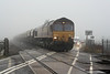 66157 heads west with the Middleton Towers - Monk Bretton sand hoppers at Three Horseshoes No.1 AHB, 30/12/10.