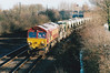66181 approaches March West Junction on the Redland self-discharge empties, 13/01/01. These trains were often Mountsorrel - Chesterton, Welwyn or Bishops Stortford workings. These wagons have just been broken up in November 2017.