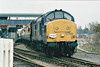 THE CROMPTON PEDIGREE - 37242 passes through March Station on the 'Crompton Pedigree' Railtour heading for Kings Lynn, 21/11/98. This loco was withdrawn in 12/99 and scrapped.<br /> 33103 Crewe - Stafford - Wolverhampton - Birmingham New Street - Proof House Jn - Landor Street Jn - Water Orton - Nuneaton - Hinckley - Wigston North Jn - Leicester - Stamford - Helpston Jn - New England Yard - Peterborough - March West Jn - Whitemoor Jn - Wisbech (Weasenham Lane LC) <br /> 37242 Wisbech - Whitemoor Jn - March West Jn<br /> 33103 March West Jn - Whitemoor Jn <br /> 37242 Whitemoor Jn - March East Jn - Ely West Jn - Ely North Jn - Ely <br /> 33103 Ely - Ely North Jn - Downham Market - Kings Lynn Yard <br /> 37242 Kings Lynn Yard - Middleton Towers <br /> 33103 Middleton Towers - Kings Lynn Yard <br /> 37242 Kings Lynn Yard - Downham Market - Ely North Jn - Ely West Jn - March - Whittlesea - Peterborough<br /> 33103 Peterborough - Helpston Jn - (reverse of outward route) - Crewe.<br /> Due to the signalmen giving wrongly directed, the train sent around the West Curve at Whitemoor Junction and had to stop and reverse, then taking the East Curve.
