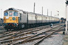 THE CROMPTON PEDIGREE - 33103 brings up the rear on the 'Crompton Pedigree' Railtour as it heads away from March for Kings Lynn, 21/11/98. This loco was withdrawn in 01/95 and returned to mainline use in 1998. It is now based on the Swanage Railway.<br /> 33103 Crewe - Stafford - Wolverhampton - Birmingham New Street - Proof House Jn - Landor Street Jn - Water Orton - Nuneaton - Hinckley - Wigston North Jn - Leicester - Stamford - Helpston Jn - New England Yard - Peterborough - March West Jn - Whitemoor Jn - Wisbech (Weasenham Lane LC) <br /> 37242 Wisbech - Whitemoor Jn - March West Jn<br /> 33103 March West Jn - Whitemoor Jn <br /> 37242 Whitemoor Jn - March East Jn - Ely West Jn - Ely North Jn - Ely <br /> 33103 Ely - Ely North Jn - Downham Market - Kings Lynn Yard <br /> 37242 Kings Lynn Yard - Middleton Towers <br /> 33103 Middleton Towers - Kings Lynn Yard <br /> 37242 Kings Lynn Yard - Downham Market - Ely North Jn - Ely West Jn - March - Whittlesea - Peterborough<br /> 33103 Peterborough - Helpston Jn - (reverse of outward route) - Crewe.<br /> Due to the signalmen giving wrongly directed, the train sent around the West Curve at Whitemoor Junction and had to stop and reverse, then taking the East Curve.