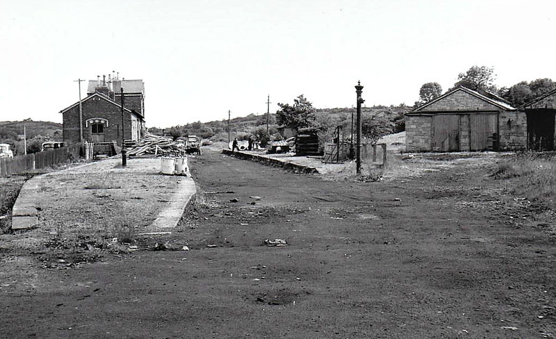 Ballinamore Station,  operations centre of the railway, which closed in March 1959, seen here some time after that with all track removed. Note engine sheds to the right.