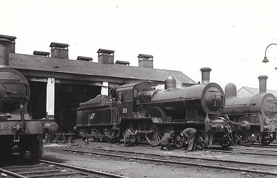 Class D14 -  89 - GS&WR Class 60 4-4-0, built 1886 by Inchicore Works - 1925 to GSR, 1925 rebuilt with Belpaire boiler, 1936 rebuilt and superheated, 1945 to CIE - withdrawn 1957 - seen here at Inchicore in June 1948.