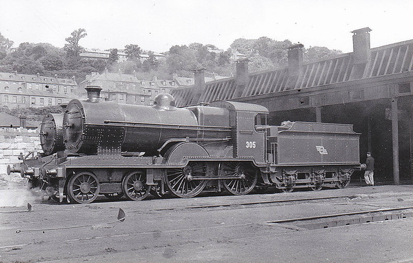 Class D12 - 305 - GS&WR Class 305 4-4-0, built 1902 by Inchicore Works - 1906 rebuilt, 1925 to GSR, 1930 rebuilt with Belpaire boiler, 1945 to CIE - withdrawn 1957 - seen here at Cork Glanmire Road in June 1948.