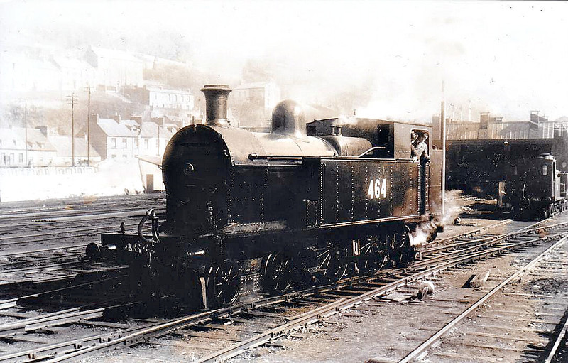Class B 4 - 464 - 4-6-0T, built 1920 by Beyer Peacock & Co., Works No.6034, as Cork, Bandon & South Coast Railway No.8 - 1925 to GSR, 1945 to CIE, 1946 rebuilt with Belpaire boiler - withdrawn 1963 - seen here at Cork Glanmire Road in 1961.