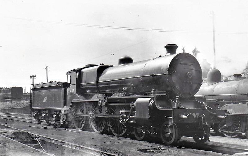 Class B 2 - 407 - GS&WR Class 400 4-cylinder compound 4-6-0, built 1922 by Armstrong Whitworth & Co., Works No.188, as GS&WR No.407 - 1924 rebuilt with superheated Belpaire boiler, 1925 to GSR, 1937 rebuilt as 2-cylinder simple, 1945 to CIE, 1949 rebuilt with superheated Belpaire boiler - withdrawn in 1955 - seen here at Cork in 07/50.