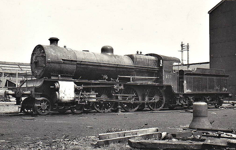 Class B 1 - 502 - GSR Class 500 4-6-0, built in 1926 by Inchicore Works - 1945 to CIE - withdrawn in 1957 - seen here at Inchicore Works in 07/54.