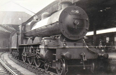 Class B 2 - 406 - GS&WR Class 400 4-cylinder compound 4-6-0, built 1921 by Inchicore Works as GS&WR No.406 - 1925 to GSR, 1930 rebuilt as 2-cylinder simple, 1945 to CIE - withdrawn in 1957 - seen here at Cork Glanmire Road in 09/54.