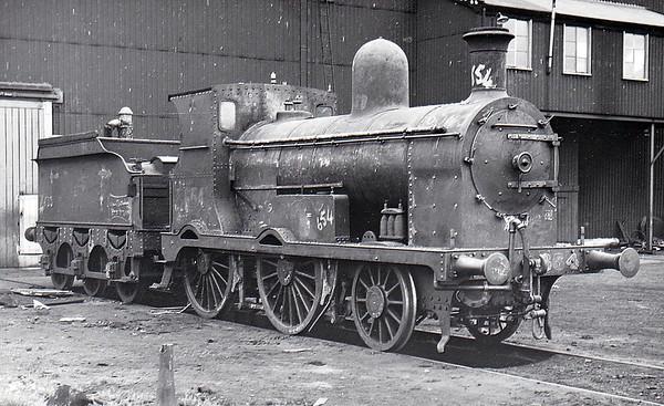 Class G 2 - 654 - M&GWR Class K 2-4-0 - built 1897 by Broadstone Works as M&GWR No.28 CLARA - 1925 to GSR as No.654, 1926 rebuilt, 1942 rebuilt with Belpaire boiler, 1945 to CIE, 1946 rebuilt with Belpaire boiler, 1950 rebuilt with round topped boiler - 1962 withdrawn.