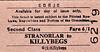 CDRJC TICKET - STRANORLAR - Second Class Single to Killybegs, fare 6s 1d.