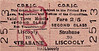 CDRJC TICKET - STRABANE - Third Class Three Monthly Return to Liscooly, fare 2s 5d.