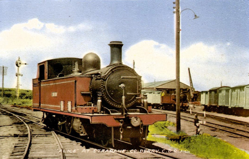 1 ALICE - Class 5A 2-6-4T, built 1912 by Nasmyth Wilson & Co., Works No.958 - as No.21 BALLYSHANNON - 1937 to No.1 ALICE - withdrawn 1959 - seen here at Strabane.
