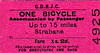 CDRJC TICKET - STRABANE - Bicycle accompanying passenger up to 15 miles - fare 1s 2d.