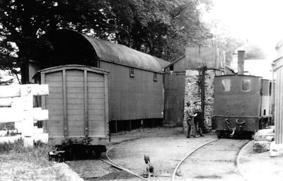 DUBLIN & BLESSINGTON TRAMWAY - 10 - double ended 2-4-2T, one of 4 operated by the D&BT, built 1906 by Tim Green as No.6 - 1914 to No.10 - seen here on shed at Belssington, 06/32.