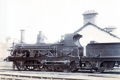 DUBLIN, WICKLOW & WEXFORD RAILWAY - 12 - Haughton DW&WR 2-4-0 - built 1860 by W. Fairbairn & Co. - 1902 withdrawn.