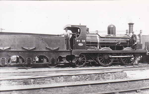 DUBLIN, WICKLOW & WEXFORD RAILWAY - 39 SUIR - 0-4-2 - built 1876 by Sharp Stewart & Co. - 1925 to GSR, withdrawn, Civil War loss.