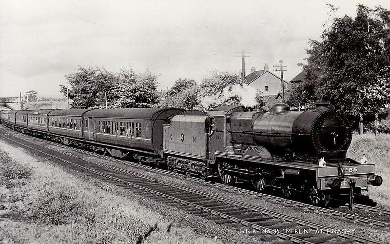 Class V - 85 MERLIN - GNR(I) 4-4-0 - built 1932 by Beyer Peacock - 1950 rebuilt with Belpaire boiler - 1958 to CIE as No.85N - withdrawn 1963 - preserved - seen here at Finaghy.