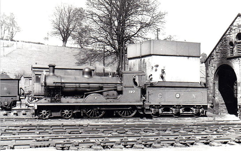 Class U - 197 LOUGH NEAGH - GNR(I) 4-4-0 - built 1915 by Beyer Peacock - 1958 to CIE as No.197N - withdrawn 1962 - seen here at Enniskillen in 1955.