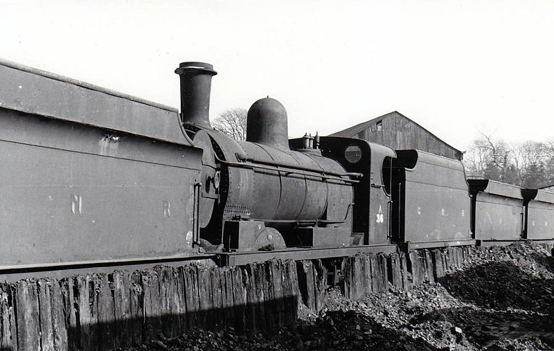 Class AL - 36 WATERFORD - GNR(I) 0-6-0 - built 1893 by Beyer Peacock - withdrawn 1957 - seen here on Dundalk scrapline in 1955.