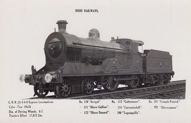 Class S2 - 190 LUGNAQUILLA - GNR(I) 4-4-0 - built 1915 by Beyer Peacock - 1939 rebuilt - 1958 to UTA as No.62 - withdrawn 1965.