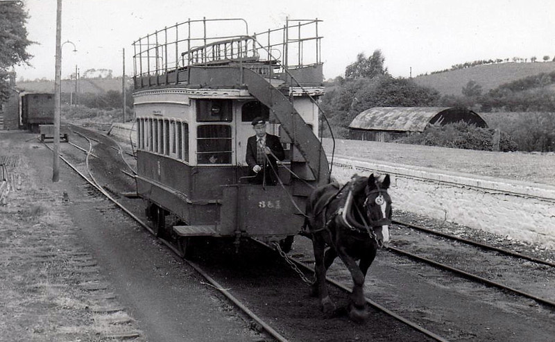 The Fintona horse tram at Fintona Junction - in its 104 year existence, all passenger trains were worked by horse, goods trains were worked a locomotive. The branch closed on 30/09/57. The tramcar dated from 1883 and is now preserved.