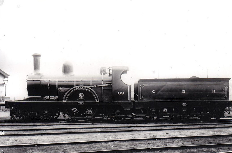 Class JS - 89 ALBERT - GNR(I) 4-2-2, built 1885 by Beyer Peacock - withdrawn 1904 - rebuilt by Dundalk Works as Class P 4-4-0 - 1923 to Class Ps - withdrawn 1958.