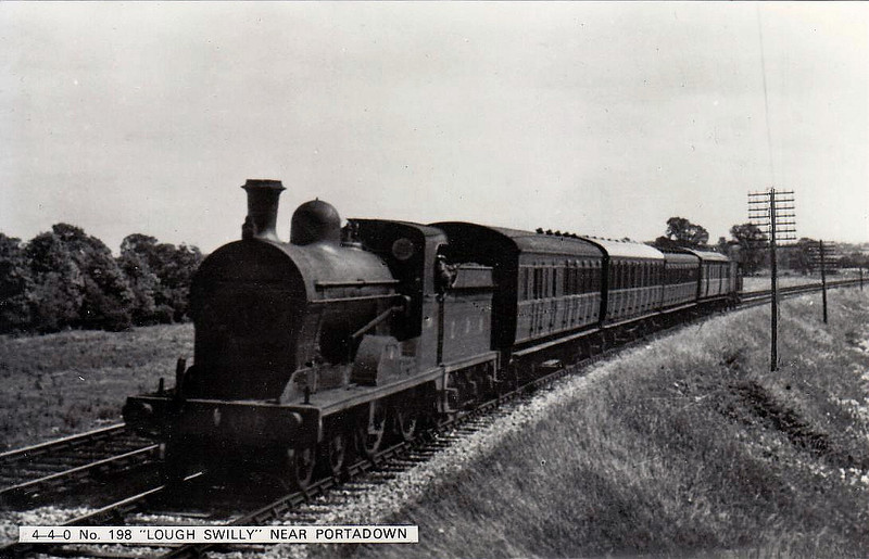 Class U - 198 LOUGH SWILLY - GNR(I) 4-4-0 - built 1915 by Beyer Peacock - 1958 to CIE - withdrawn 1959 - seen here near Portadown.