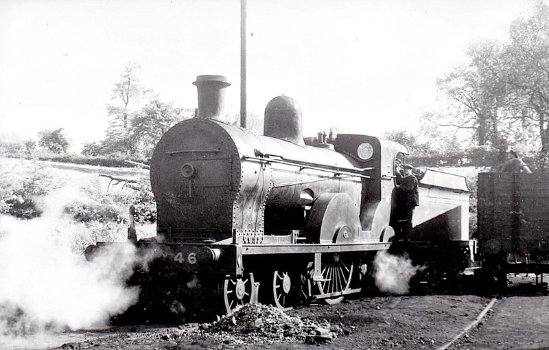 Class PP - 46 TYPHOON - GNR(I) 4-4-0, built 1909 by Beyer Peacock - 1927 rebuilt as Class PPs, 1945 rebuilt - 1958 to UTA as No.46x - withdrawn 1958 - seen here at Enniskillen in 1950.
