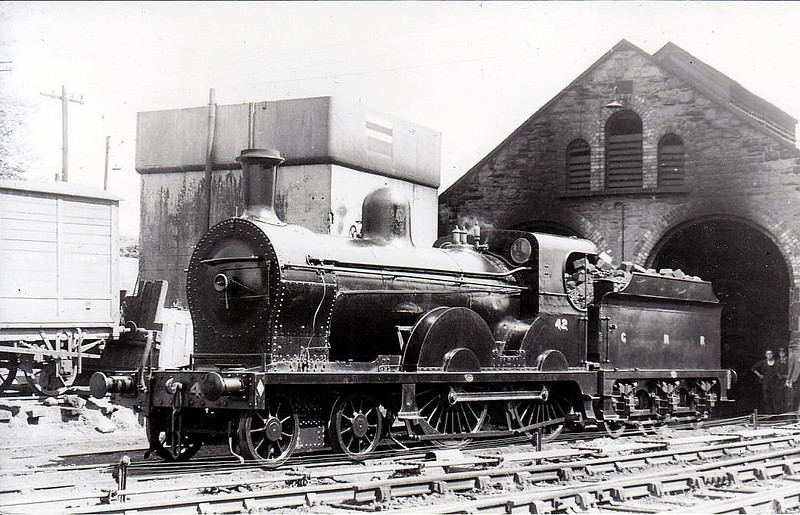 Class PP - 42 MUNSTER - GNR(I) 4-4-0, built 1911 by Beyer Peacock - 1929 rebuilt to Class PPs, 1942 rebuilt - 1958 to UTA as 58x - withdrawn 1960 - seen here at Enniskillen in 1950.