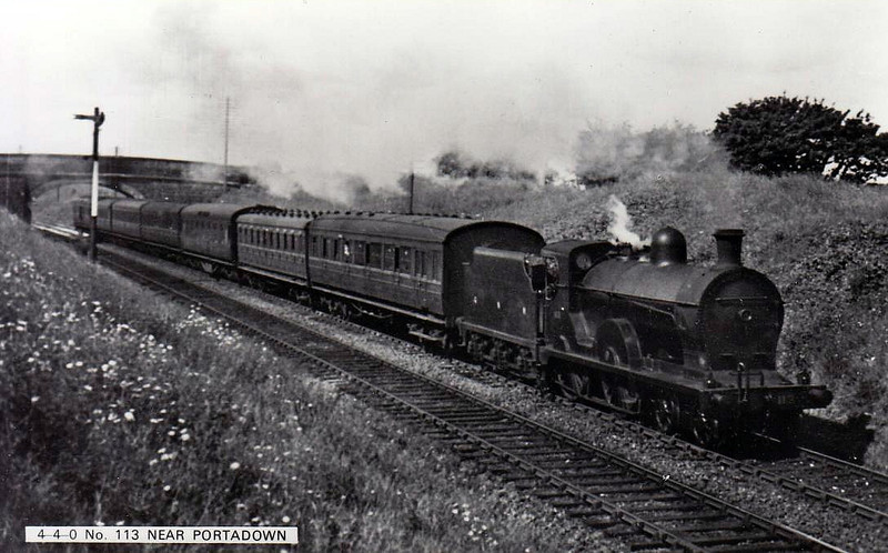 Class QL - 113 NEPTUNE - GNR(I) 4-4-0 - built 1904 by North British - 1924 rebuilt as Class QLs - withdrawn 1957 - seen here near Portadown.