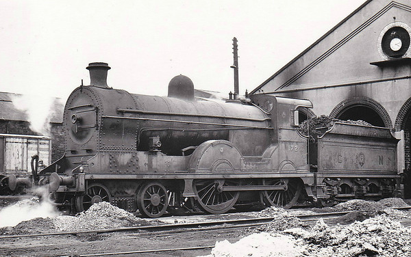 Class S - 172 SLIEVE DONARD - GNR(I) 4-4-0 - built 1913 by Beyer Peacock - 1938 rebuilt - 1958 to UTA as No.60 - withdrawn 1965 - seen here at Dundalk in June 1955.
