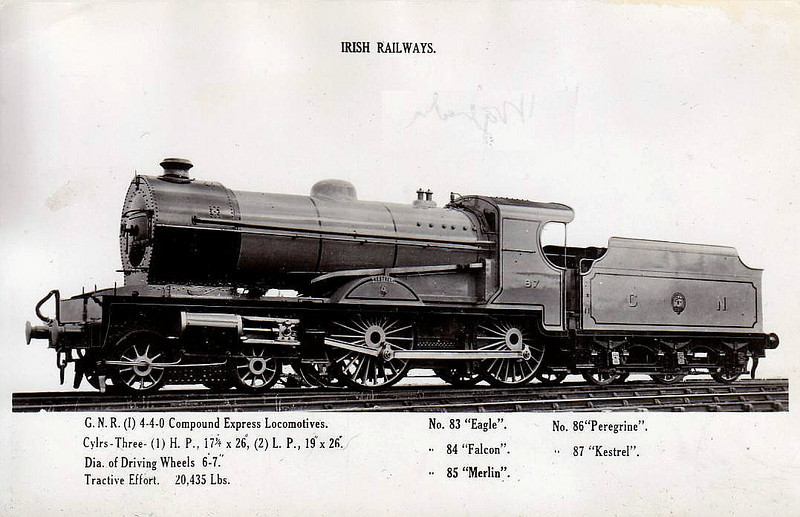 Class V - 87 KESTREL - GNR(I) 4-4-0 - built 1932 by Beyer Peacock - 1946 rebuilt with Belpaire boiler - 1948 to UTA as No.87x - withdrawn 1960.
