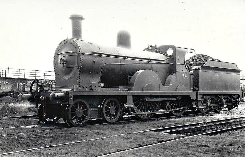 Class PP - 74 ROSTREVOR - GNR(I) 4-4-0, built 1896 by Beyer Peacock - 1930 rebuilt as Class PPs - 1958 to UTA as No.74x - 1960 to UTA No.42x - withdrawn 1963 - seen here at Belfast Adelaide Street, 07/33.